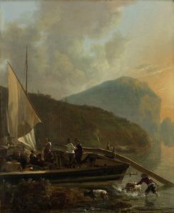 Schuit aan de oever van een rivier