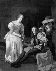 Jonge vrouw met een citroen en een soldaat met een roemer