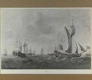 Engelse schepen op zee met op de voorgrond een roeiboot