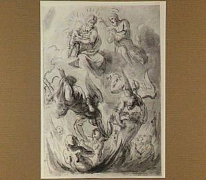 Johannes de Doper bemiddelt bij Maria en Kind voor de zielen in het vagevuur