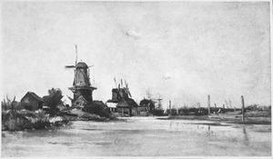 Zicht op molens bij Dordrecht