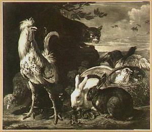 Kip, haan, konijnen en duiven in een landschap, van links komt een kat aansluipen