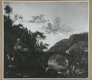 Zuidelijk landschap met hoge stenen brug