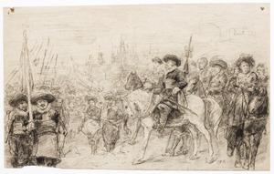 Historische scène met leger en aanvoerders voor een stad