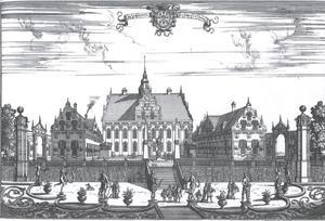 Gezicht op kasteel Jacobsdal (tegenwoordig: Ulriksdal Palace), gezien vanuit het oosten