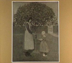 Twee kinderen onder een appelboom