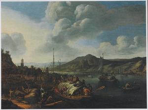 Rijnlandschap met aanlegplaats en schepen