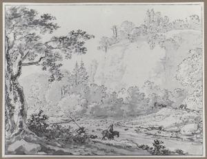 Reizigers steken een rivier over in de bergen