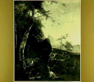 Italianiserend landschap met berkenboom en twee herders