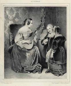 Vrouw en kinderen musicerend