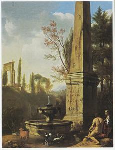 Rustende herders in een arcadisch landschap naast een oude fontein en een obelisk