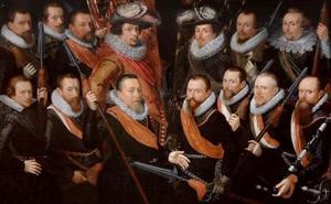 Schutterstuk van de officieren en vaandeldragers van de Oude Schutterij