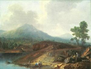 Berglandschap met meer en vissers