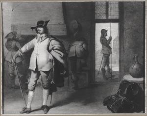 Soldaten in een wachtlokaal