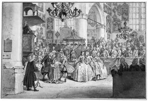 De doop van de latere Prins Willem V in de Grote Kerk te Den Haag, op 11 april 1748
