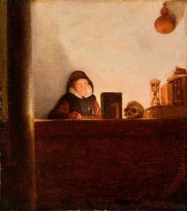 Oude vrouw in studeerkamer met schedel en zandloper