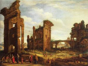 Cappriccio van het Forum van Nerva, met links de tempel van Minerva