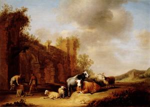 Zuidelijk landschap met koeien en schapen voor een klassieke ruïne