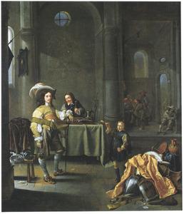 Drinkende en rustende soldaten in een wachtlokaal