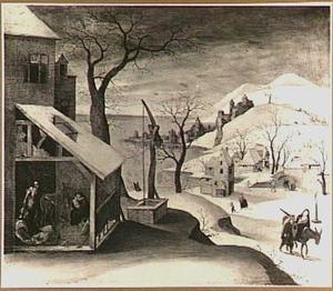 Winterlandschap met de engel verschijnt aan Jozef, de kindermoord en de vlucht naar Egypte