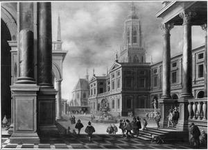 Fantasiegezicht in een stad met de Cuneratoren van Rhenen en een (niet uitgevoerd) ontwerp voor het Koningshuis
