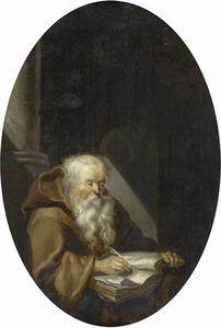 Oude monnik schrijvend in een manuscript