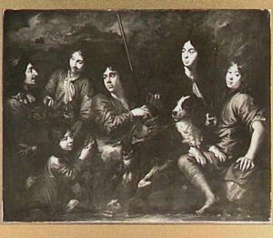 Jonge jagers om een jachtbuit