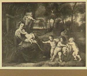 Madonna met kind met putti in een landschap