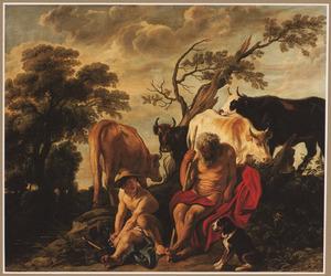 Mercurius maakt zich op de slapende Argus te onthoofden (Ovidius, Met. I, 568-723)