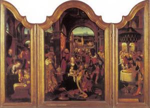 Drieluik met de aanbidding van de Wijzen (middenpaneel); de geboorte (linkerluik); de presentatie (rechterluik)