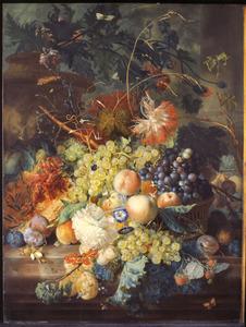 Stilleven van vruchten en bloemen op een marmeren blad