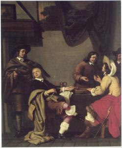 Interieur met rokende, converserende en triktrakkende figuren