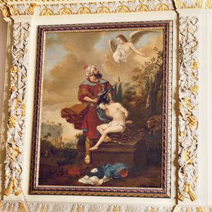 Een engel weerhoudt Abraham wanneer hij  Isaak met zijn zwaard wil slachten (Genesis 22:11-12)