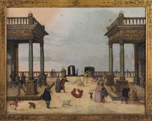 Venetiaans havengezicht met Commedia dell'arte goochelaars en carnavalvierders