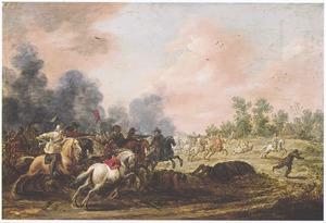 Ruitergevecht in een vlak landschap
