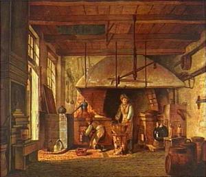 Interieur van het 'Stoockhuys' van apotheker A. d'Ailly bij het bolwerk aan de Zaagmolenpoort te Amsterdam