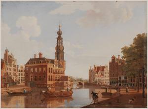 Gezicht op het Singel in Amsterdam met de Munttoren