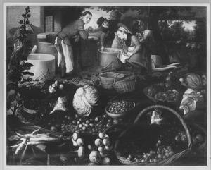 Stilleven met groente en fruit. in de achtergrond twee mannen en een vrouw bij een put