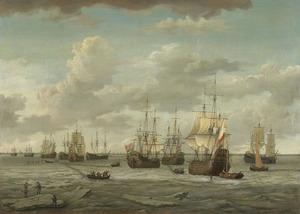 Gezicht op het dichtgevroren IJ met een vloot walvisvaarders