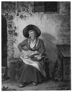 Zittende vrouw met rieten mand