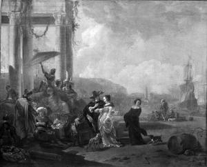 Gezicht op een Italiaanse haven met klassieke ruïne