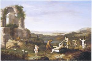 Arcadisch landschap met nimfen en satyrs bij een ruïne