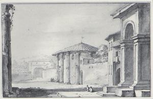 Capriccio van het Forum Boarium in Rome, met de tempel van Hercules Victor