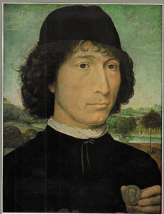 Portret van een man met een Romeinse munt in de hand