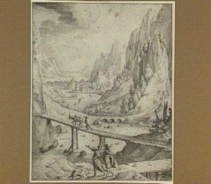 Berglandschap met Tobias en de engel Rafaël op weg naar Ekbatana (Tobias 6:1)