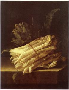 Stilleven met asperges en artisjok