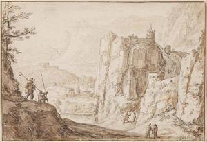 Landschap met een kasteel op een steile rots