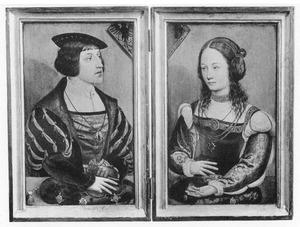 Portret van Ferdinand van Oostenrijk (links), portret van de echtgenote van Ferdinand van Oostenrijk (rechts)