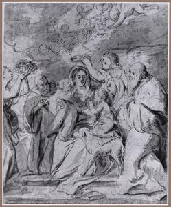 De H. Familie met Johannes de Doper, zijn ouders en engelen