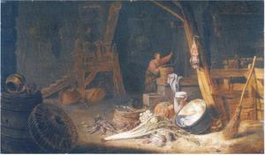 Boerendeel met vrouw aan de put